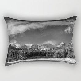 Rocky Mountan Park in Black and White Rectangular Pillow