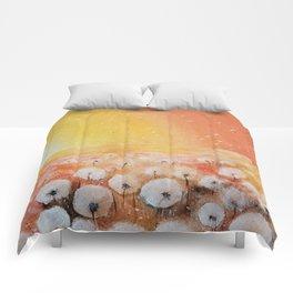 Sunrise and Dandelions, Watercolor Comforters