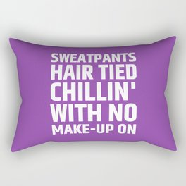 SWEATPANTS HAIR TIED CHILLIN' WITH NO MAKE-UP ON (Purple) Rectangular Pillow