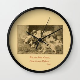 English Setter puppies & Mother's Day quote Wall Clock