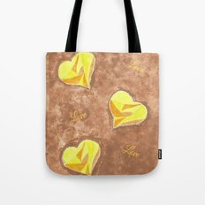 Yellow and brown hearts pattern Tote Bag