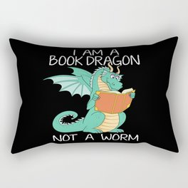 I Am A Book Dragon Not A Bookworm Reading Girls Teacher Tee Shirt Book Lovers And Librarians Gifts Rectangular Pillow