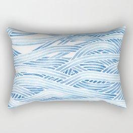 Blue sailboat, watercolor nautical ocean waves sea Rectangular Pillow