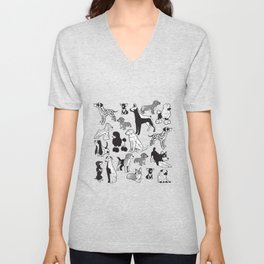 Geometric sweet wet noses // red watercolour texture background black and white dogs Unisex V-Neck