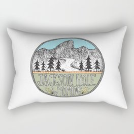 Jackson Hole circle illustration Rectangular Pillow