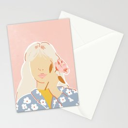 Girl and her Flower Stationery Cards