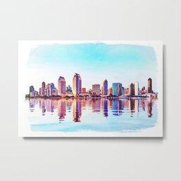 Watercolor of San Diego Skyline at dusk Metal Print