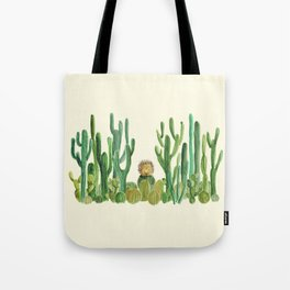 In my happy place - hedgehog meditating in cactus jungle Tote Bag
