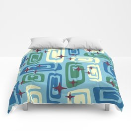 Mid Century Modern Cosmic Galaxies 728 Blue Green and Cream Comforters