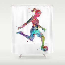 Girl Soccer Player Watercolor Print Sports Print Soccer Player Poster Shower Curtain