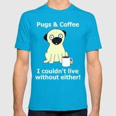 Pugs and Coffee Teal MEDIUM Mens Fitted Tee