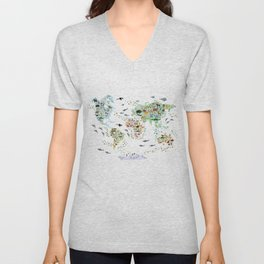 Cartoon animal world map for children and kids, Animals from all over the world back to school Unisex V-Neck