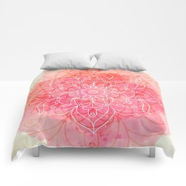 Pink Watercolor Mandala #lifestyle #society6 Comforters