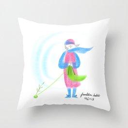 Spring Knitter Throw Pillow