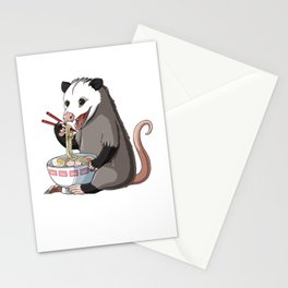 Opossum Eats Ramen Noodles Stationery Cards