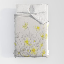 white daisy and yellow daffodils ink and watercolor Duvet Cover