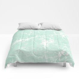 Modern vintage mint white elegant marble Comforters