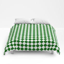 Small Diamonds - White and Dark Green Comforters