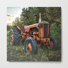 Vintage old red tractor Metal Print