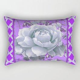 WHITE GARDEN  ROSE FLOWERS PANTENE PURPLE DECORATIVE ART Rectangular Pillow