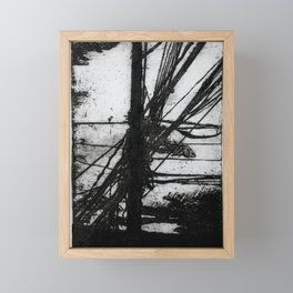 Poste y cables de electricidad Framed Mini Art Print