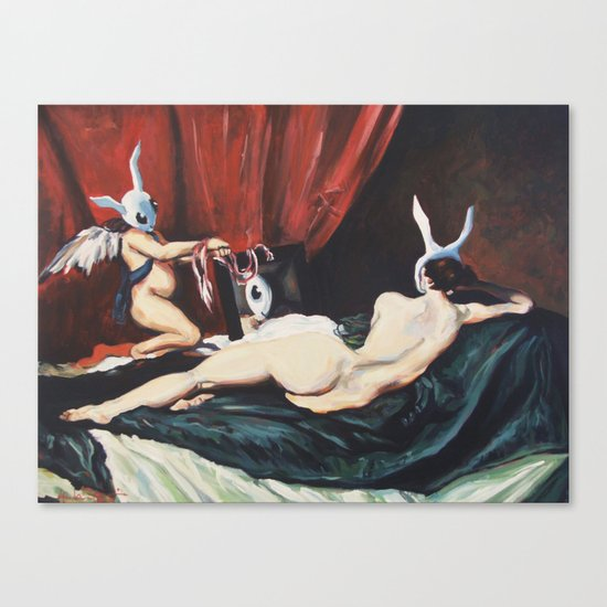 Rabbenus At Her Mirror Canvas Print