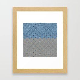 Geometric Circle Shapes Beachy Fish Scale Pattern in Blue and Gray Framed Art Print