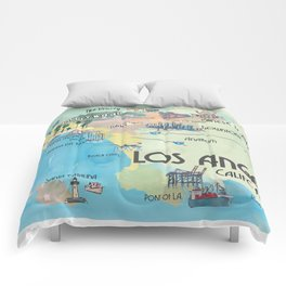 Greater Los Angeles Fine Art Print Retro Vintage Map with Touristic Highlights in colorful retro pri Comforters