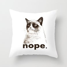 GRUMPY CAT - Nope (version 2) Throw Pillow