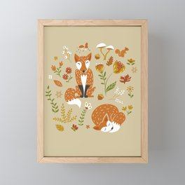 Foxes with Fall Foliage Framed Mini Art Print