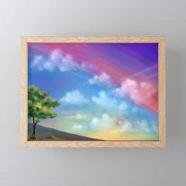 Fantasy sky digital art. Traces of the aircraft in the sky Framed Mini Art Print