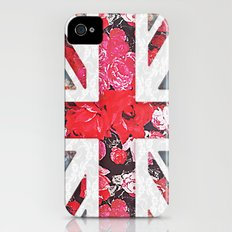 God save the Queen | Elegant girly red floral & lace Union Jack  iPhone (4, 4s) Slim Case