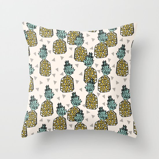 Pineapple - Cream by Andrea Lauren Throw Pillow
