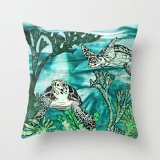 Myrtle Turtle. Throw Pillow