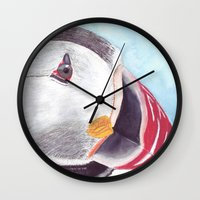 puffin Wall Clocks featuring Puffin by Art by Frydendal