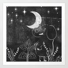 Elephant and Moon Art Print