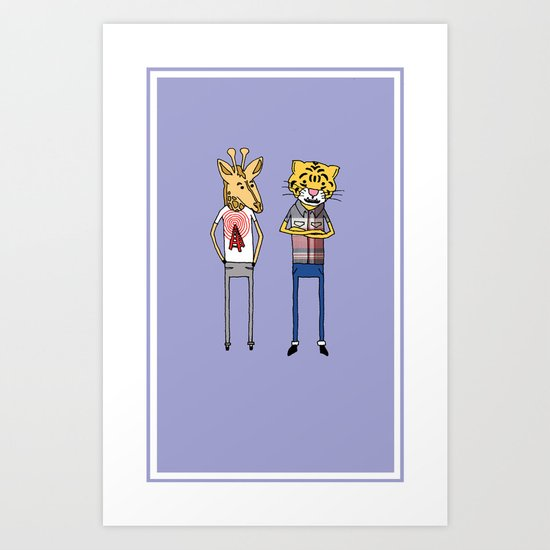 Giraffe and Tiger Art Print
