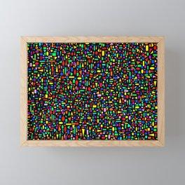 Various colored geometric shapes on a black background Framed Mini Art Print