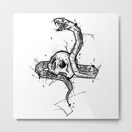 Skull and Snake Handmade Drawing, Made in pencil and ink, Tattoo Sketch, Tattoo Flash, Blackwork Metal Print