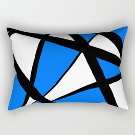 China Blue Geometric Triangle Abstract Inverse Rectangular Pillow