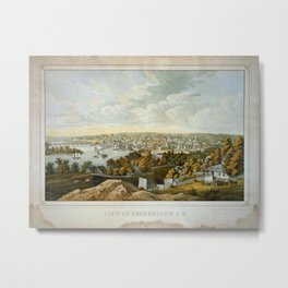 Vintage Pictorial Map of Georgetown (1855) Metal Print