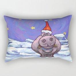 Hippopotamus Christmas Rectangular Pillow