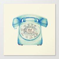 Rotary Telephone - Ballpoint Canvas Print