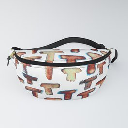 T-shape watercolor abstract strokes pattern in rusty color Fanny Pack