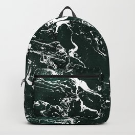 Dark green forest watercolor white marble christmas pattern Backpack