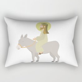 Jesus Riding Donkey Palm Sunday Rectangular Pillow