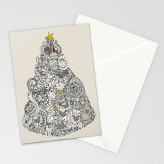 christmas robin tree Stationery Cards