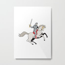 Knight Riding Horse Sword Cartoon Metal Print