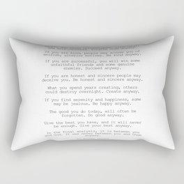 Do It Anyway by Mother Teresa #minimalism #inspirational Rectangular Pillow