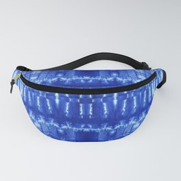 tie dye ancient resist-dyeing techniques Indigo blue textile abstract pattern Fanny Pack